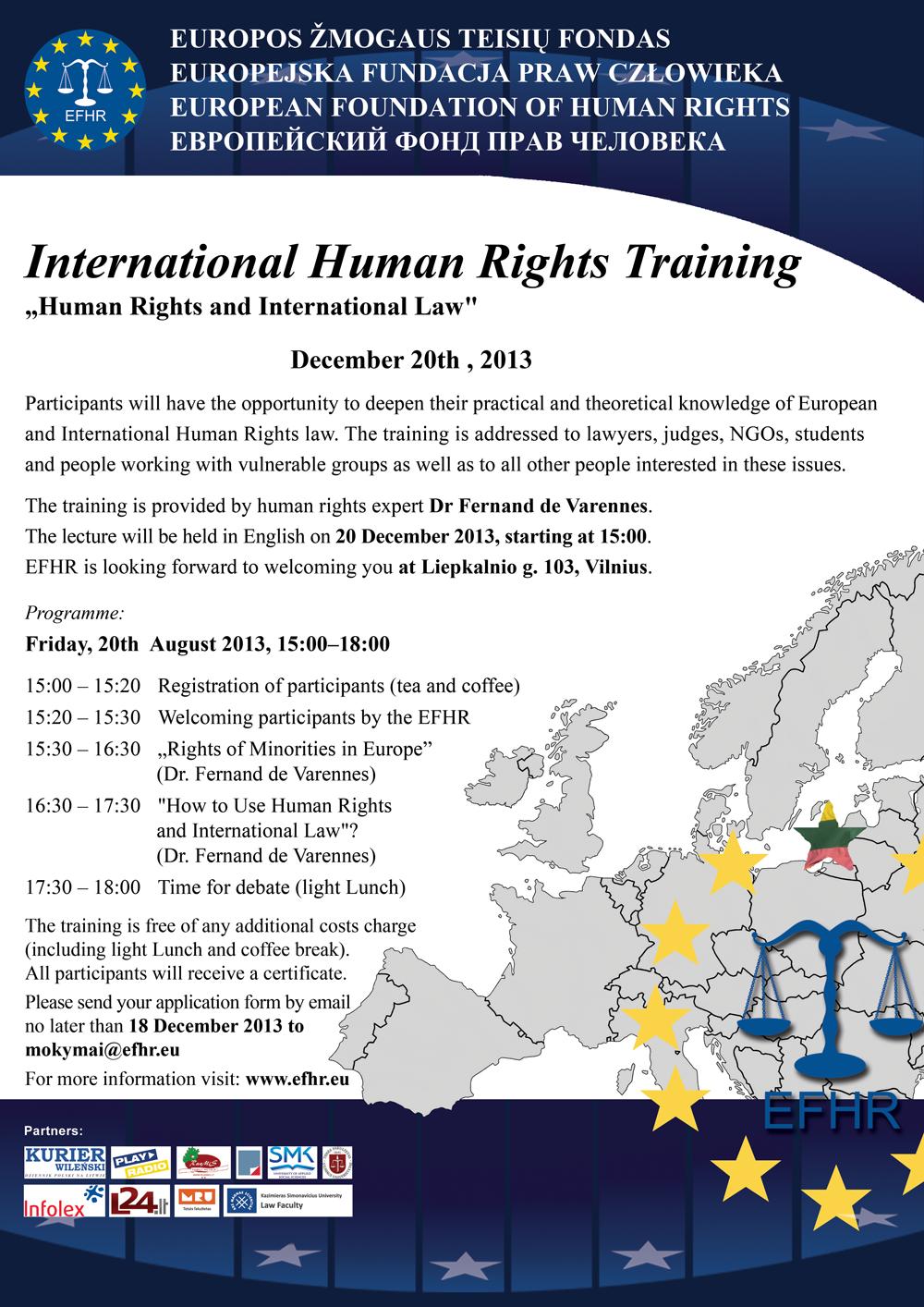 Zapraszamy na bezpłatne szkolenia EFHR!