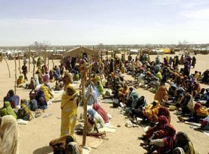 Refugees wait for food supplies on border of Chad and Sudan.