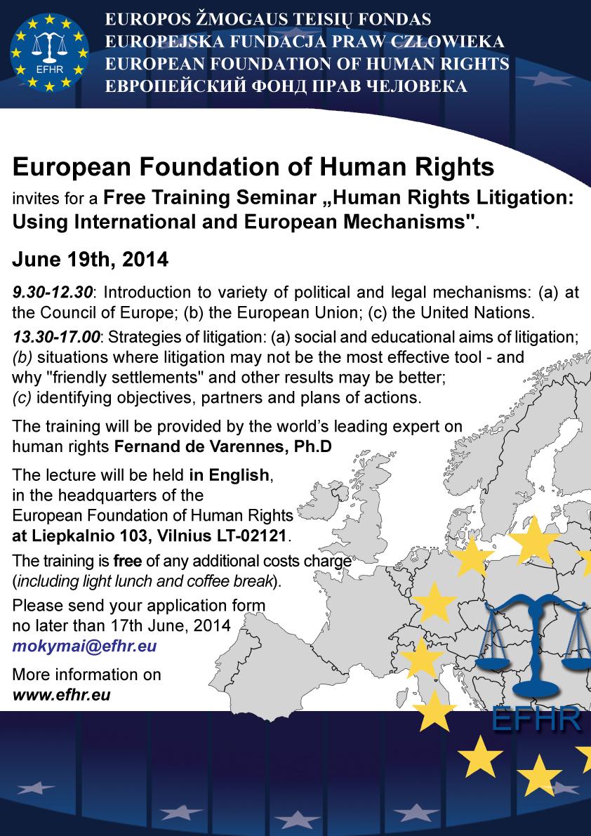 EFHR zaprasza na bezpłatne szkolenia z zakresu praw człowieka