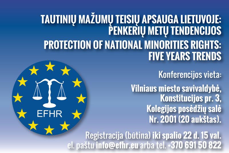 """Zaproszenie na konferencję """"Ochrona praw mniejszości narodowych na Litwie: tendencje w ostatnich pięciu latach"""""""