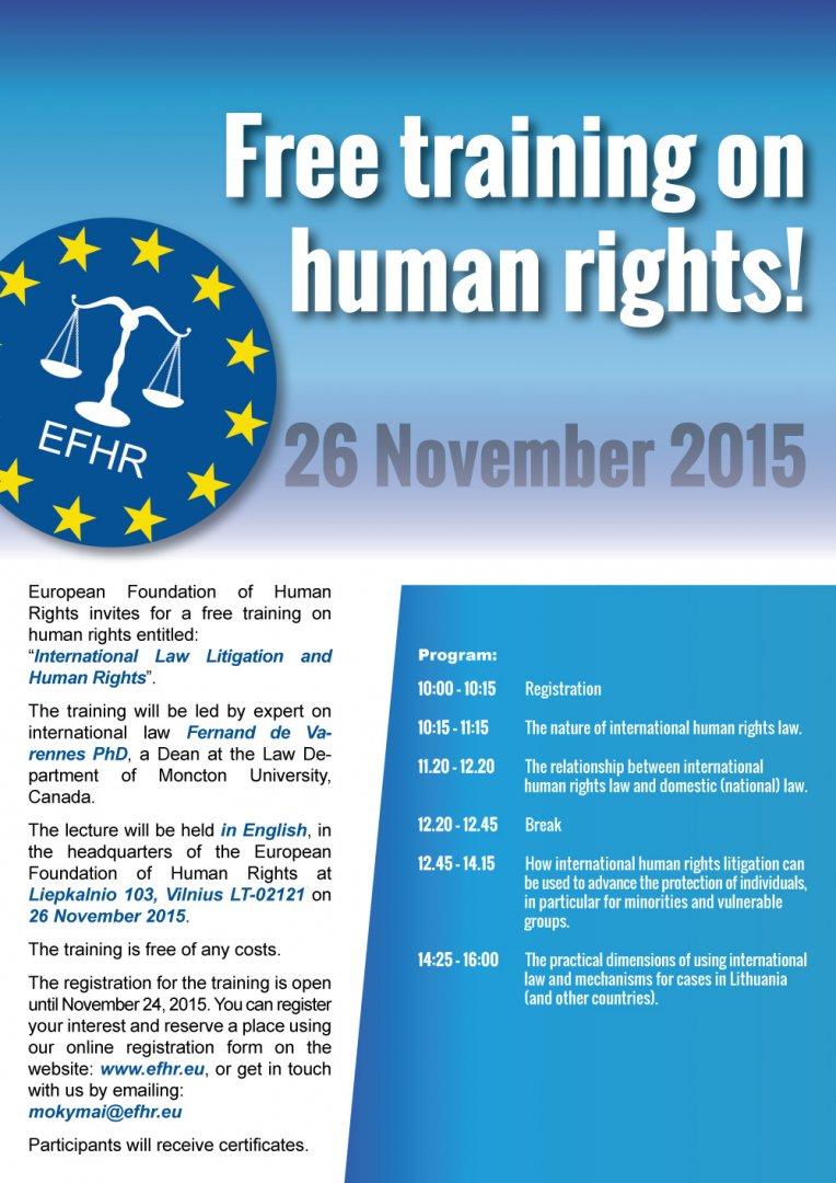 """EFHR zaprasza na drugie szkolenie pt. """"Wdrażanie prawa międzynarodowego"""""""