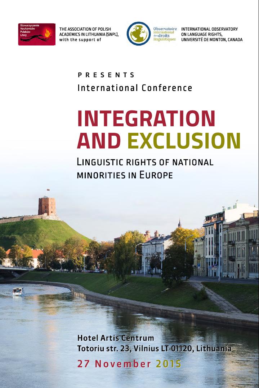 """EFHR zaprasza na konferencję """"Pomiędzy integracją a wyłączeniem: prawa językowe mniejszości narodowych w Europie"""" organizowaną przez SNPL"""