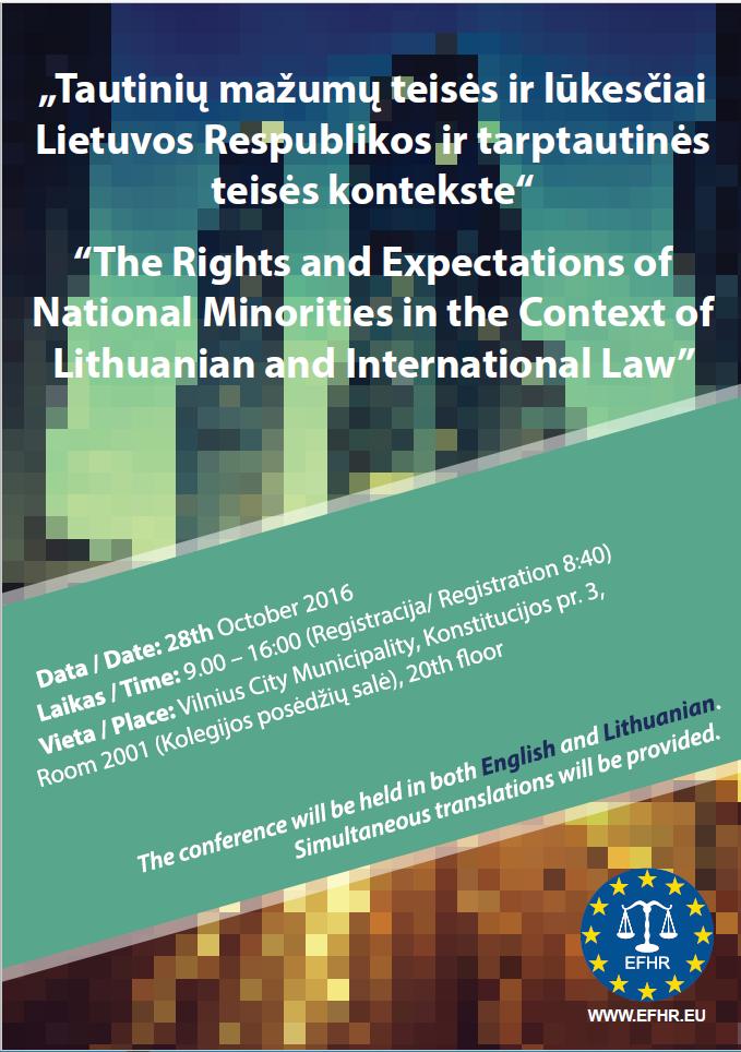 EFHR zaprasza na konferencję poświęconą prawom mniejszości narodowych na Litwie
