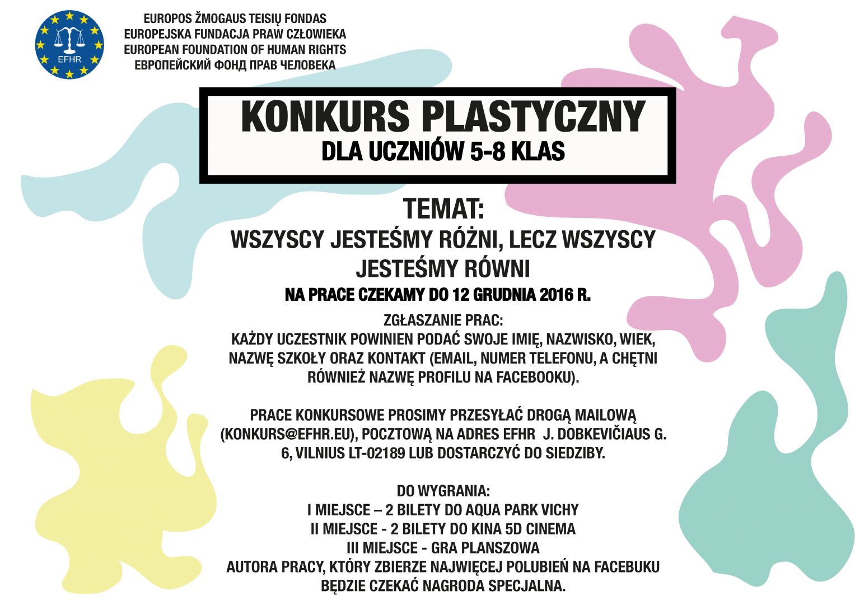 Z okazji Międzynarodowego Dnia Praw Człowieka, ogłaszamy konkurs plastyczny